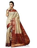 Meghdoot Artificial Silk Saree (VIVAAH_MT1246_CREAMxMAROON Woven Cream and Maroon Colour Sari)