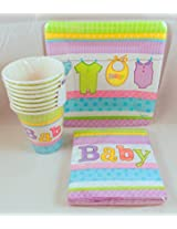 Baby Shower Cuddly Clothesline Theme Party Supply Pack For 8 Includes Plates, Cups & Napkins