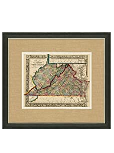 "Mitchell-Antique Map of Virginia & West Virginia, 1860's-1870's, 21"" x 23"""