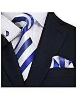 Landisun Stripes Mens Silk Tie Set: Tie+Hanky+Cufflinks 91A Bright Blue White, 3.75