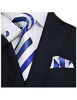 "Landisun Stripes Mens Silk Tie Set: Tie+Hanky+Cufflinks 91A Bright Blue White, 3.75""Wx66""L"