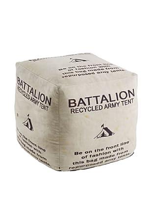 Puff Decorativo Battalion  Blanco Roto