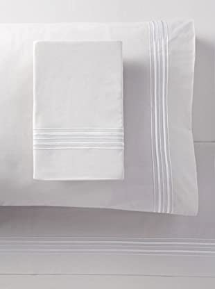 Mason Street Textiles Hotel Piping Sheet Set (Steel/White)