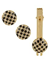 TRIPIN Golden Round Shaped cufflink With Tie Pin