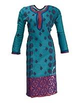 Imperial Chikan Women's Cotton Straight Kurta (12157, Blue, 42)