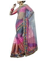 Nakkashi Women Net Zari Saree (3007 _Pink _Free Size)