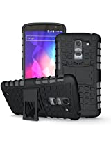 Jkase Ultra Fit Tough Rugged Dual Layer Protection Case with Build in Stand for LG G Pro 2 - Black