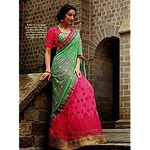 Ethnic Fire Embroidered Lehenga Choli - Pink & Green