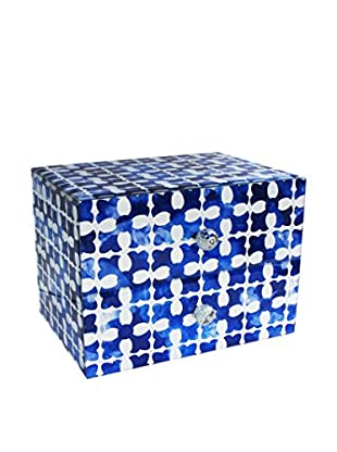 American Atelier Medallion Squares 2-Drawer Jewelry Box, Blue