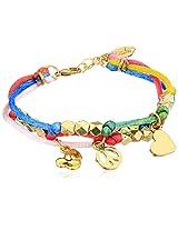 "Ettika ""Satin Cord"" Gold Beaded Rainbow ""Satin Cord"" Bracelet Happiness Charms"