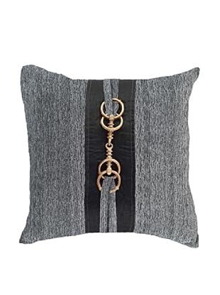 Horn Button Pillow, Black/Gold/Grey, 18