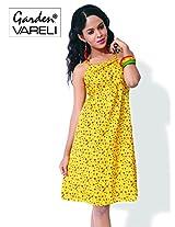 Garden Vareli Womens Cotton Column Dress (Gardenvareli Western Dress 1029-A _Yellow _Medium)