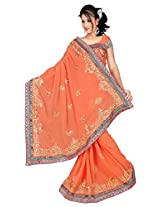 Chinco Embroidered Saree With Blouse Piece (1201-E_Orange)
