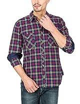 Slub Mens Casual Shirt(SLSH000891B-L_Blue_L)