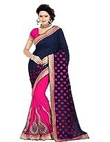 Khushali Presents Multi Embroidered And Embellished Georgette Skirt And Jacquard Pallu Half & Half Saree(Pink,Navy Blue)