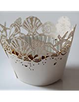 ShopAParty - Ivory Seashell Laser Cut Cupcake Wrappers