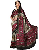 Abida Printed Grey Color Bhagalpuri Art Silk Saree
