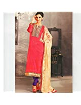 Ali Colours Glamrous Cotton Embroidered Dress Material With Pure Chiffon Dupatta For Women