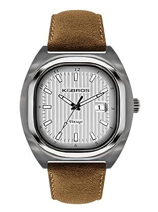 K&BROS 9451-2 / Reloj de Caballero  con correa de piel Plateado
