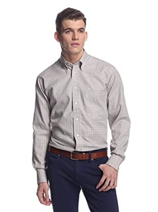 Oxxford Men's Sport Shirt with Button-Down Collar (Purple/Grey Check)