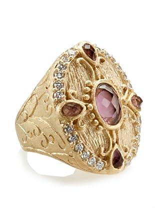 Rivka Friedman Bold Ornate Oval Amethyst Crystal Ring