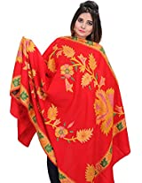Exotic India Shawl from Amritsar with Crewel Embroidered Flowers - Color Tomato RedColor Free Size