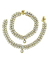 The jewelbox antique traditional leaf design kundan look payal anklet pair 30cm