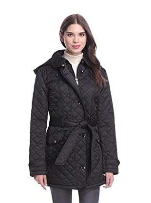 Laundry by Design Women's Quilted Jacket with Belt (Black)
