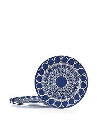 "Bongenre Set of 4 Louis Minuit 12"" Plates (Navy/White)"