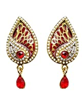 Dhwani Creation Alloy Drop Earrings for Women and Girls (Red)