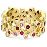 Annie Fensterstock Wide Vega 18k Yellow Gold, Sapphire, Ruby and Diamond Ring, Size 7