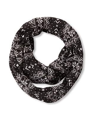 Isaac Mizrahi Women's Patterned Knit Infinity Scarf, Black