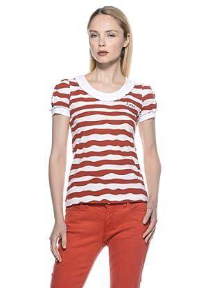Love Moschino Camiseta Onda (Blanco / Rojo)