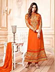 Sangeeta Ghosh Neck Designer Orange Embroidered Anarkali Suit