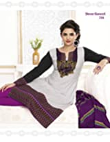 SGS Printed Cotton Unstitched Regular Fit Salwar Suit (White_Free Size)