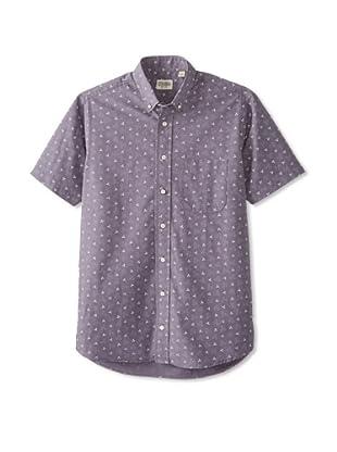 Gitman Blue Men's All Over Print Short Sleeve Sportshirt (Grey)