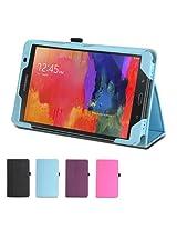 GMYLE(R) Folio Case Classic for Samsung Galaxy Tab Pro 8.4 T320 - Aqua Blue PU Leather Slim Stand Case Cover