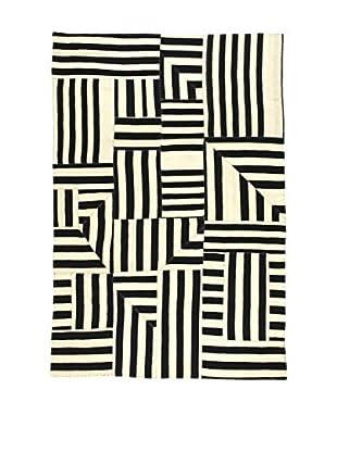 Eden Teppich Kilim Patch Work schwarz/elfenbein 162 x 239 cm