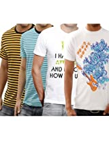 Funktees Men's Original Pure Cotton M Size T-Shirt - Pack of 4