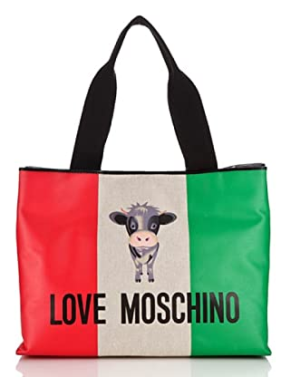 Love Moschino Tasche Canvas St. Italian Cow (Elfenbein)