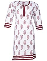 Bunkaari India Women's Cotton Regular Fit Kurti (00LK 8_36, White and maroon, 36)