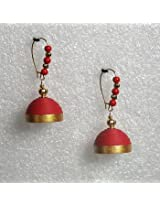 Earrings - Red hanging quilled jhumkas
