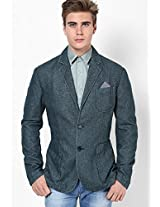 Blue Solid Slim Fit Casual Jacket