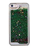 Phoenix Bling Sparkle Glitter Stars Dynamic Liquid Quicksand Clear Hard Case Frame for iPhone 5 5s 5g - Green