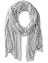 Betsey Johnson Women's Blue by Betsey Love Liquid Mesh Wrap Silver Scarf One Size