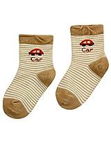 Cute Walk - Striped Socks With Car Design