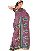 Orbymart Brown Color Raw Silk Saree - 55208066