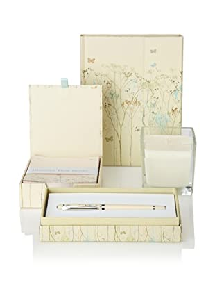 Peter Pauper Press Butterflies Gift Set of Foldover Journal, Desk Notepad, Pen and Candle
