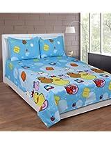 Jai International Cotton Cartoon Double Bedsheet (1 Bed Sheet, 2 Pillow Covers, Multicolor)