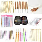 12 Style Aluminum Bamboo Plastic Crochet Hooks Knitting Needles Set Weave Tools